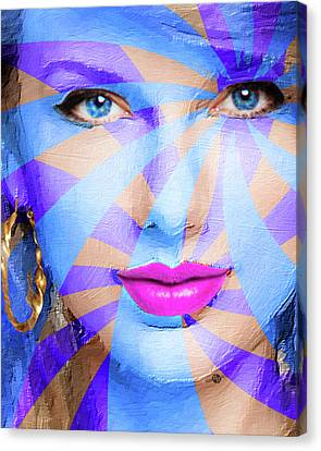 Taylor Swift Blue Square Smaller 16x20 Canvas Print by Tony Rubino
