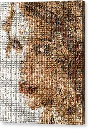 Taylor Swift Mosaic Canvas Print by Paul Van Scott