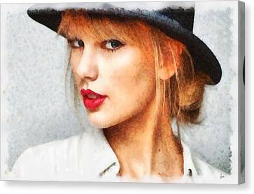Taylor Swift Painting On Canvas Canvas Print by Sir Josef Social Critic - ART