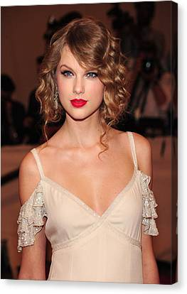 Taylor Swift Wearing A Dress By Ralph Canvas Print by Everett