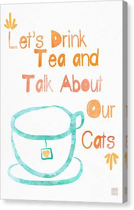 Tea And Cats Canvas Print by Linda Woods