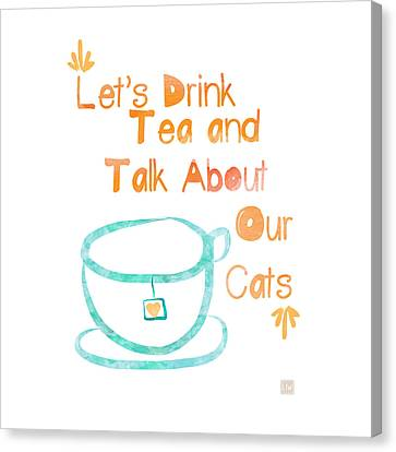Tea And Cats Square Canvas Print by Linda Woods