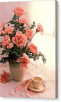 Tea Cup With Pink Carnations Canvas Print by Garry Gay