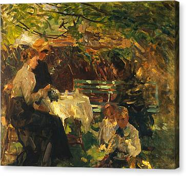 Tea In The Garden, Canvas Print by Walter Frederick Osborne
