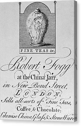 Tea Trade Card, C1770 Canvas Print by Granger