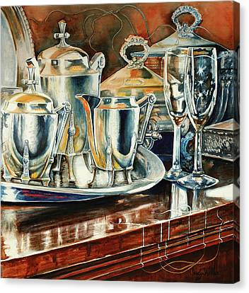 Tea With Marguerite Canvas Print by Carolyn Coffey Wallace