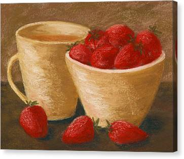 Tea With Strawberries Canvas Print by Cheryl Albert