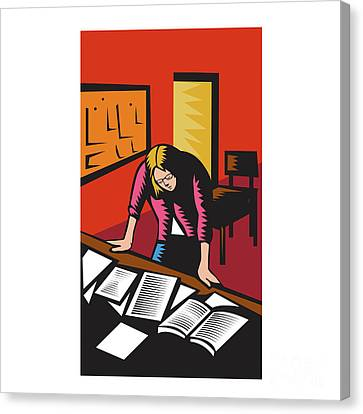 Teacher Depressed Table Classroom Woodcut Canvas Print by Aloysius Patrimonio