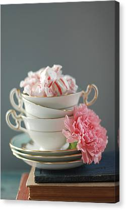 Teacups And Candy Canvas Print by Shawna Lemay