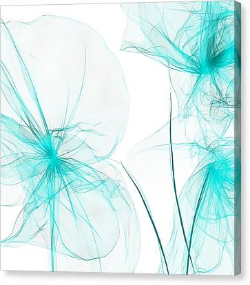 Teal Abstract Flowers Canvas Print by Lourry Legarde