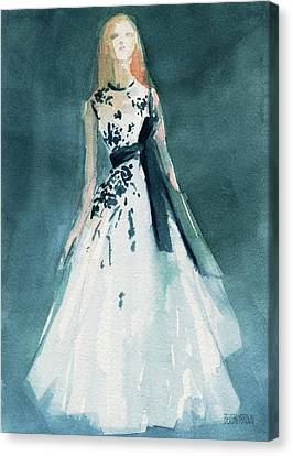 Teal And White Evening Dress Canvas Print by Beverly Brown Prints