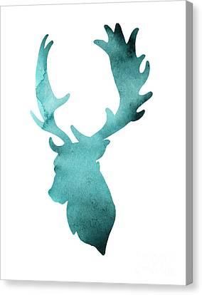 Teal Deer Watercolor Painting Canvas Print by Joanna Szmerdt