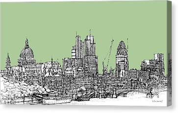 Teal Green London Roofscape Canvas Print by Adendorff Design