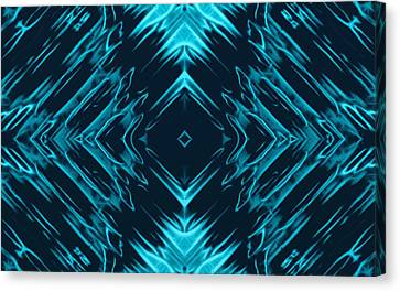 Teal Kaleidoscope On Black Background Canvas Print by Gina Lee Manley