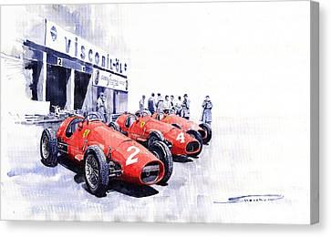 Team Ferrari 500 F2 1953 German Gp Canvas Print by Yuriy  Shevchuk