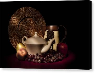 Teapot With Fruit Still Life Canvas Print by Tom Mc Nemar
