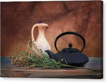 Teapot With Pitcher Still Life Canvas Print by Tom Mc Nemar