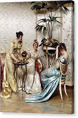 Teatime Tales Canvas Print by Joseph Frederic Charles Soulacroix
