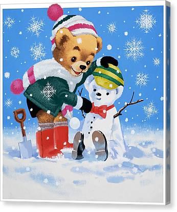 Teddy Bear Building A Snowman Canvas Print by William Francis Phillipps