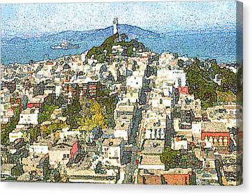 Telegraph Hill San Francisco - Watercolor Drawing Canvas Print by Art America Online Gallery