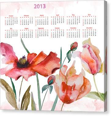 Template For Calendar 2013 Canvas Print by Regina Jershova