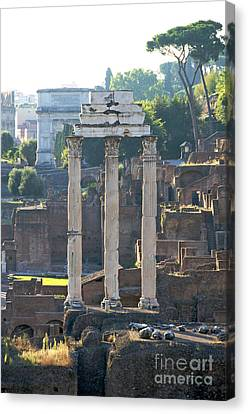 Temple Of Vesta Arch Of Titus. Temple Of Castor And Pollux. Forum Romanum Canvas Print by Bernard Jaubert