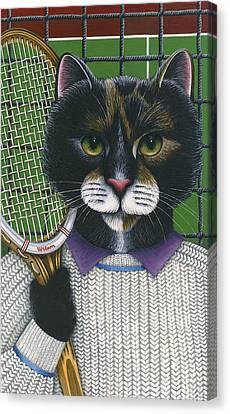Tennis Cat Canvas Print by Carol Wilson