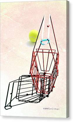 Tennis Court Basket And Ball Canvas Print by Kae Cheatham
