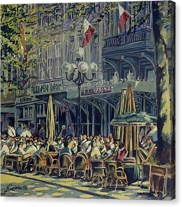 Terrace At The Vrijthof In Maastricht Canvas Print by Nop Briex