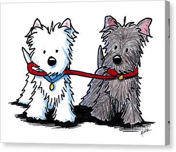 Terrier Walking Buddies Canvas Print by Kim Niles