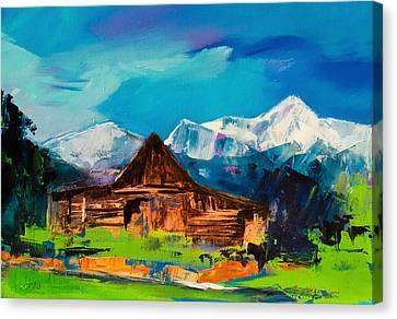 Teton Barn  Canvas Print by Elise Palmigiani