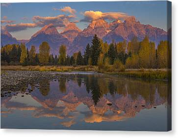Teton Morning Mirror Canvas Print by Joseph Rossbach