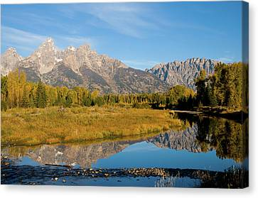 Teton Reflections Canvas Print by Steve Stuller