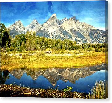 Tetons At The Landing Canvas Print by Marty Koch