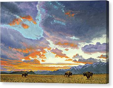 Tetons-looking South At Sunset Canvas Print by Paul Krapf