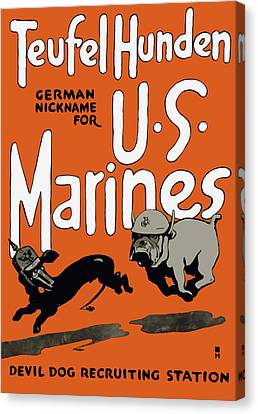 Teufel Hunden - German Nickname For Us Marines Canvas Print by War Is Hell Store