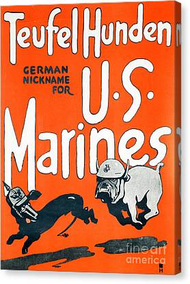 Teufel Hunden Us Marines Poster Canvas Print by American School
