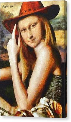 Texan Mona Lisa Canvas Print by Leonardo Digenio
