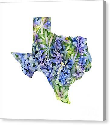 Texas Blue Texas Map On White Canvas Print by Hailey E Herrera