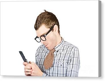 Text Messaging Nerd Canvas Print by Jorgo Photography - Wall Art Gallery