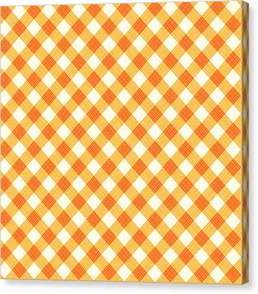 Thanksgiving Or Autumn Gingham Fabric Texture Canvas Print by Natalia Ratselmeister