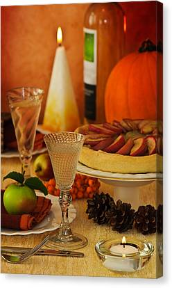 Thanksgiving Table Canvas Print by Amanda Elwell