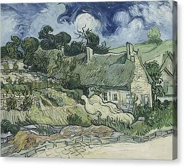 Thatched Cottages At Cordeville Canvas Print by Vincent van Gogh
