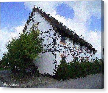Thatched Country House Impressionist Painting Canvas Print by Dawn Hay