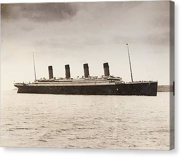 The 46 328 Tons Rms Titanic Of The Canvas Print by Vintage Design Pics