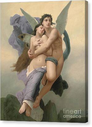 Male Angel Canvas Print featuring the painting The Abduction Of Psyche by William-Adolphe Bouguereau