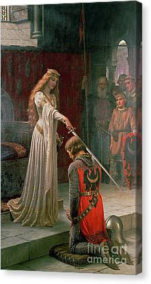 Romance Canvas Print featuring the painting The Accolade by Edmund Blair Leighton