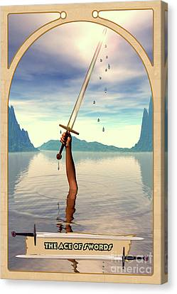 The Ace Of Swords Canvas Print by John Edwards