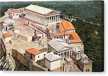 The Acropolis And Parthenon Canvas Print by Roger Payne
