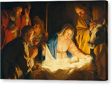 The Adoration Of The Shepherds Canvas Print by Gerrit van Honthorst